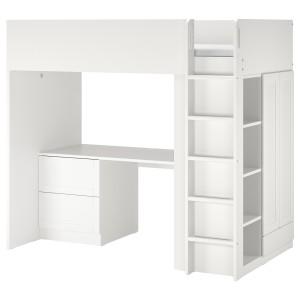 СМОСТАД Кровать-чердак, белый с рамой, с письменным столом с 3 ящиками