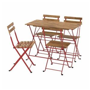 ТЭРНО Стол+4 стула, д/сада, красный, светло-коричневая морилка