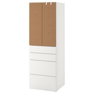 СМОСТАД Гардероб, белый пробка, с 4 ящиками