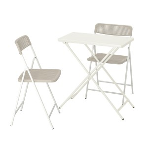 ТОРПАРЁ Садовый стол+2 складных стула, белый, бежевый