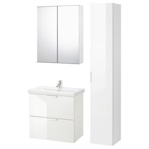 ФИСКОН / ТВЭЛЛЕН Комплект мебели для ванной,8 предм., глянцевый белый, ПИЛКОН смеситель