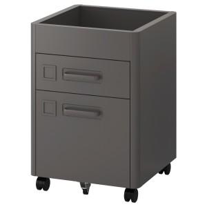 ИДОСЕН Тумба с ящиками на колесах, темно-серый