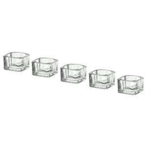 ГЛАСИГ Подсвечник для греющей свечи, прозрачное стекло, 5шт