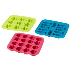 ПЛАСТИС Формочка для льда, зеленый/розовый, бирюзовый