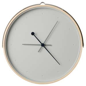 РОТБЛОТА Настенные часы, ясеневый шпон, светло-серый