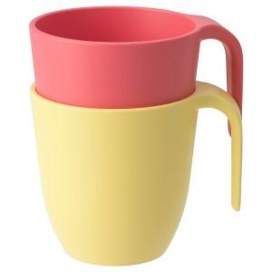 ХЭРОИСК Кружка, светло-красный, желтый, 2шт