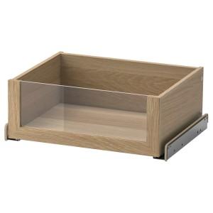 КОМПЛИМЕНТ Ящик со стеклянной фронтал панелью, под беленый дуб