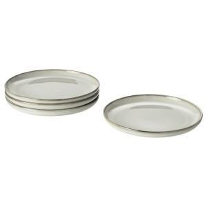 ГЛАДЕЛИГ Тарелка десертная, серый, 4шт