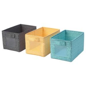 УППРЮМД Коробка, черный желтый, бирюзовый, 3шт