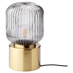 СОЛКЛИНТ Лампа настольная, латунь, серое прозрачное стекло