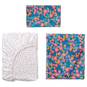 РЁРАНДЕ Комплект постельного белья, 3 предм, цветочный орнамент, синий розовый