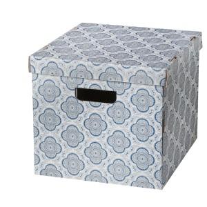 СМЕКА Коробка с крышкой, серый, цветок