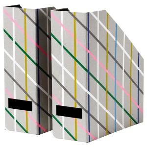 ТЬЕНА Подставка для журналов, серый разноцветный, бумага, 2шт