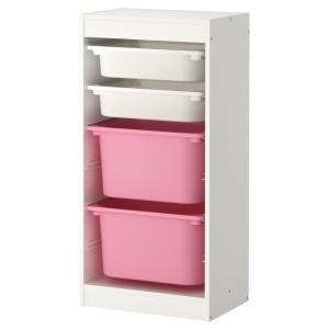 ТРУФАСТ Комбинация д/хранения+контейнеры, белый, белый розовый