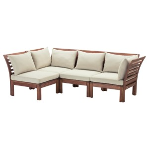 ЭПЛАРО Модульный угл 3-мест диван, садовый, коричневая морилка, Холло бежевый