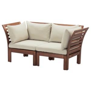 ЭПЛАРО 2-местный модульный диван, садовый, коричневая морилка, Холло бежевый