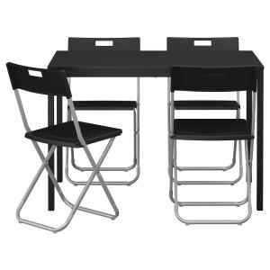 ТЭРЕНДО / ГУНДЕ Стол и 4 стула, черный