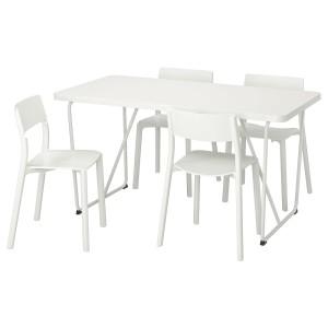 РЮДЕБЭКК/БЭККАРИД / ЯН-ИНГЕ Стол и 4 стула, белый, белый