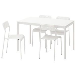 МЕЛЬТОРП / АДДЕ Стол и 4 стула, белый