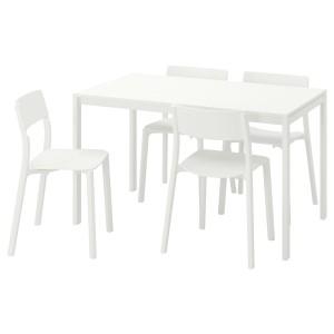 МЕЛЬТОРП / ЯН-ИНГЕ Стол и 4 стула, белый, белый