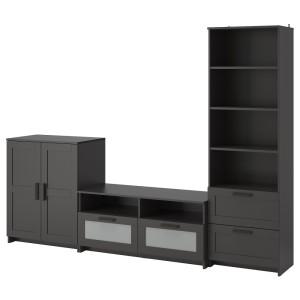 БРИМНЭС Шкаф для ТВ, комбинация, черный