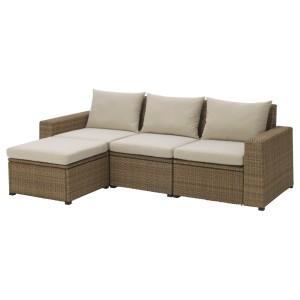 СОЛЛЕРОН 3-местный модульный диван, садовый, с табуретом для ног коричневый коричневый, Холло бежевый