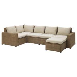 СОЛЛЕРОН Модульный угл 4-мест диван, садовый, с табуретом для ног коричневый коричневый, Холло бежевый
