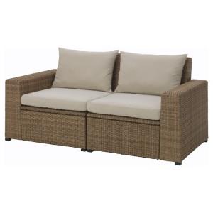 СОЛЛЕРОН 2-местный модульный диван, садовый, коричневый, Холло бежевый