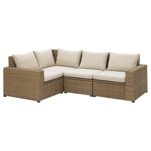 СОЛЛЕРОН Модульный угл 3-мест диван, садовый, коричневый, Холло бежевый
