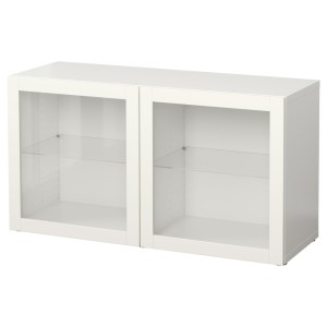 БЕСТО Стеллаж со стеклянн дверьми, белый, Синдвик белый прозрачное стекло
