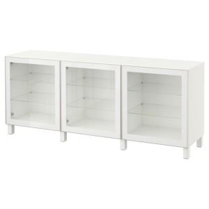 БЕСТО Комбинация для хранения с дверцами, белый, Глассвик глассвик/стуббарп белый прозрачное стекло