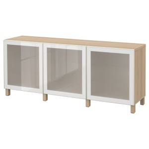 БЕСТО Комбинация для хранения с дверцами, под беленый дуб, Глассвик белый матовое стекло