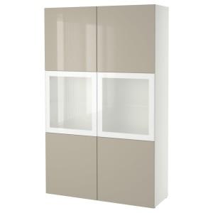 БЕСТО Комбинация д/хранения+стекл дверц, белый, Сельсвикен глянцевый/бежевый матовое стекло