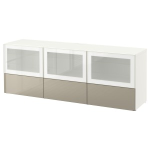 БЕСТО Тумба под ТВ, с дверцами и ящиками, белый, Сельсвикен глянцевый/бежевый матовое стекло
