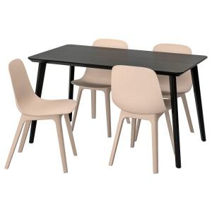 ЛИСАБО / ОДГЕР Стол и 4 стула, черный, бежевый