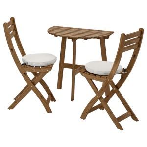 АСКХОЛЬМЕН Стол+2 складных стула, д/сада, серо-коричневая морилка, ФРЁСЁН/ДУВХОЛЬМЕН бежевый