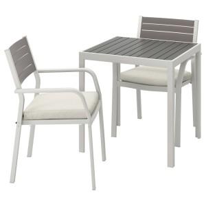 ШЭЛЛАНД Садовый стол и 2 легких кресла, темно-серый, ФРЁСЁН/ДУВХОЛЬМЕН бежевый