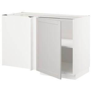 МЕТОД Угловой напольный шкаф с полкой, белый, Лерхюттан светло-серый