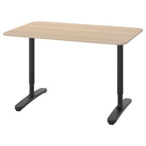 БЕКАНТ Письменный стол, дубовый шпон, беленый, черный
