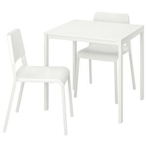 МЕЛЬТОРП / ТЕОДОРЕС Стол и 2 стула, белый, белый