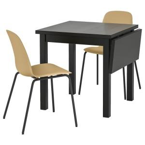 НОРДВИКЕН / ЛЕЙФ-АРНЕ Стол и 2 стула, светлый оливково-зеленый, Брур-Инге черный