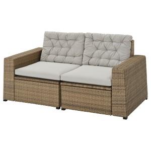 СОЛЛЕРОН 2-местный модульный диван, садовый, коричневый, Куддарна серый