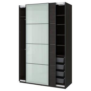 ПАКС / МЕХАМН/СЕККЕН Гардероб, комбинация, черно-коричневый, матовое стекло