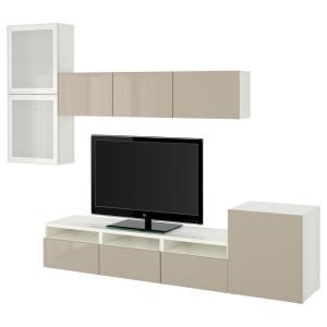 БЕСТО Шкаф для ТВ, комбин/стеклян дверцы, белый, Сельсвикен глянцевый/бежевый матовое стекло