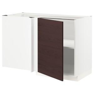 МЕТОД Угловой напольный шкаф с полкой, белый Аскерсунд, темно-коричневый под ясень