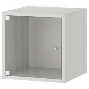 ЭКЕТ Навесной шкаф со стеклянной дверью, светло-серый