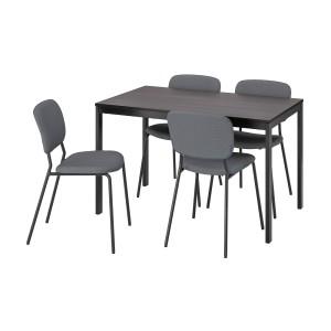 ВАНГСТА / КАРЛ-ЯН Стол и 4 стула, черный темно-коричневый, Кабуса темно-серый