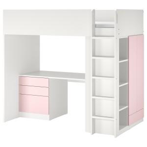 СМОСТАД Кровать-чердак, белый бледно-розовый, с письменным столом с 4 ящиками