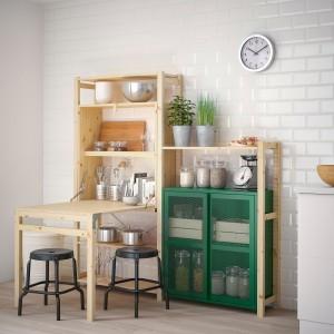 ИВАР Стеллаж со столом/шкафами/ящиками, сосна, зеленый сетка