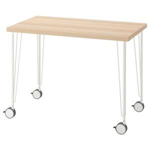ЛИННМОН / КРИЛЛЕ Письменный стол, под беленый дуб, белый